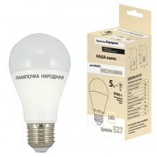 Светодиодная лампа НЛ-LED-A60-5 Вт-230 В-3000 К-Е27, (58х109 мм), Народная