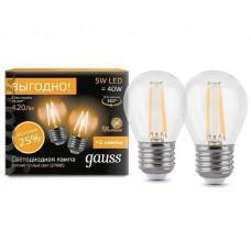 Светодиодная лампа Filament Шар E14 5W 4100К 2/100 (2 лампы в упаковке) Gauss