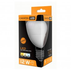 Светодиодная лампа AE27FR12W230VN LED lamp, A60 shape, milky, E27, 12W, 220-240V, 300°, 1103 lm, 4000K, Ra>80, 50000 h CANYON