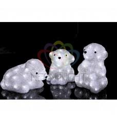 Акриловая фигура NEON-NIGHT Медвежата, 3 шт, 20 см, 60 белых светодиодов 513-266