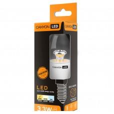 Светодиодная лампа BE14CL3.3W230VW LED lamp, B38 shape, clear, E14, 3.3W, 220-240V, 150°, 250 lm, 2700K, Ra>80, 50000 h CANYON