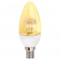 Светодиодная лампа Ecola candle LED 4,2W 220V E14 золотистая прозрачная свеча искристая пирамида (композит) 98x36