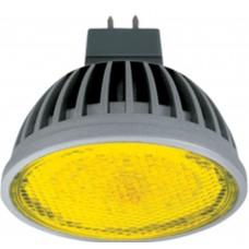 Светодиодная лампа Ecola MR16 LED color 4,2W 220V GU5.3 Yellow Желтый прозрачное стекло (ребристый алюминесцентная радиатор) 47х50 лампа