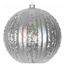 Елочная фигура NEON-NIGHT Полосатый шар, 20 см, цвет серебряный 502-076