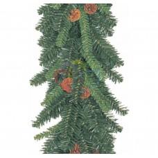 Еловый шлейф NEON-NIGHT 2,7 м с шишками, объем 41 см 307-221