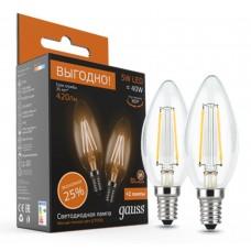Светодиодная лампа Filament Свеча E14 5W 2700К 2/100 (2 лампы в упаковке) Gauss