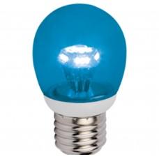 Светодиодная лампа Globe LED color 3,0W G45 220V E27 Blue Синий прозрачный шар искристая пирамида 84x45 Ecola