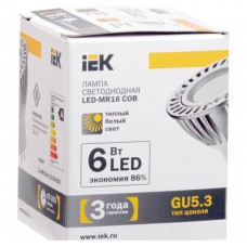 Светодиодная лампа MR16 COB софит 6 Вт 400 Лм 12 В 3000 К GU5.3 IEK