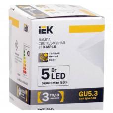 Светодиодная лампа MR16 софит 5 Вт 330 Лм 12 В 3000 К GU5.3 IEK