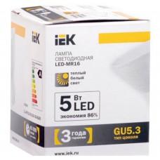 Светодиодная лампа MR16 софит 5 Вт 330 Лм 230 В 3000 К GU5.3 IEK