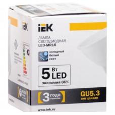 Светодиодная лампа MR16 софит 5 Вт 350 Лм 12 В 4000 К GU5.3 IEK