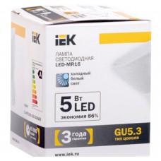 Светодиодная лампа MR16 софит 5 Вт 370 Лм 230 В 4000 К GU5.3 IEK