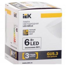 Светодиодная лампа MR16 софит 8 Вт 480 Лм 230 В 3000 К GU5.3 IEK