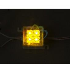 LED модуль, 30мм х 30мм, 4 светодиода, ЖЁЛТЫЙ NEON-NIGHT