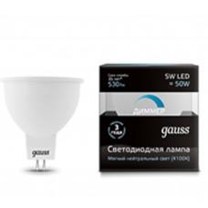 Светодиодная лампа LED MR16 GU5.3-dim 5W 4100K диммируемая Gauss