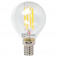 Светодиодная лампа LED-ШАР-deco 5Вт 230В Е14 3000К 450Лм прозрачная IN HOME IN HOME
