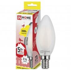 Светодиодная лампа LED-СВЕЧА-deco 5Вт 230В Е14 3000К 450Лм матовая IN HOME IN HOME