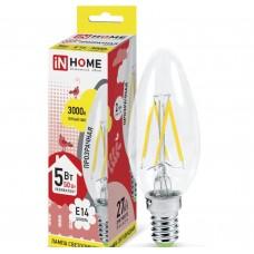 Светодиодная лампа LED-СВЕЧА-deco 5Вт 230В Е14 3000К 450Лм прозрачная IN HOME IN HOME