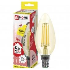 Светодиодная лампа LED-СВЕЧА-deco 5Вт 230В Е14 3000К 450Лм золотистая IN HOME IN HOME