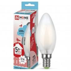 Светодиодная лампа LED-СВЕЧА-deco 5Вт 230В Е14 4000К 450Лм матовая IN HOME IN HOME