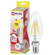 Светодиодная лампа LED-СВЕЧА-deco 7Вт 230В Е14 3000К 630Лм прозрачная IN HOME IN HOME