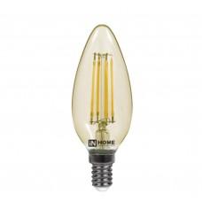 Светодиодная лампа LED-СВЕЧА-deco 7Вт 230В Е14 3000К 630Лм золотистая IN HOME IN HOME