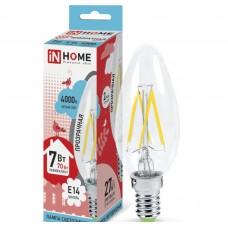 Светодиодная лампа LED-СВЕЧА-deco 7Вт 230В Е14 4000К 630Лм прозрачная IN HOME IN HOME