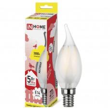 Светодиодная лампа LED-СВЕЧА НА ВЕТРУ-deco 5Вт 230В Е14 3000К 450Лм матовая IN HOME IN HOME