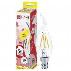 Светодиодная лампа LED-СВЕЧА НА ВЕТРУ-deco 5Вт 230В Е14 3000К 450Лм прозрачная IN HOME IN HOME
