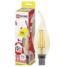 Светодиодная лампа LED-СВЕЧА НА ВЕТРУ-deco 5Вт 230В Е14 3000К 450Лм золотистая IN HOME IN HOME