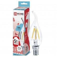 Светодиодная лампа LED-СВЕЧА НА ВЕТРУ-deco 5Вт 230В Е14 4000К 450Лм прозрачная IN HOME IN HOME