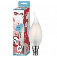 Светодиодная лампа LED-СВЕЧА НА ВЕТРУ-deco 7Вт 230В Е14 4000К 630Лм матовая IN HOME IN HOME