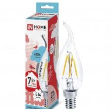 Светодиодная лампа LED-СВЕЧА НА ВЕТРУ-deco 7Вт 230В Е14 4000К 630Лм прозрачная IN HOME IN HOME