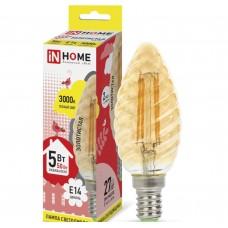 Светодиодная лампа LED-СВЕЧА ВИТАЯ-deco 5Вт 230В Е14 3000К 450Лм золотистая IN HOME IN HOME