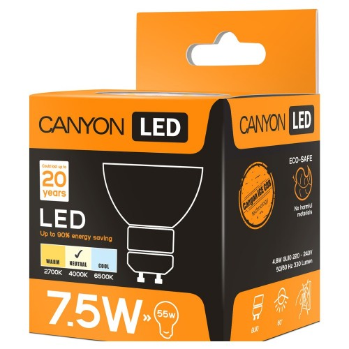 Лампа светодиодная Canyon GU10 4.8W 4000K (MRGU10/5W230VN60)