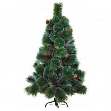 Новогодняя ель 120 см с 10 шишками и снегом, 90 веток, цвет зеленый NEON-NIGHT