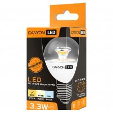 Светодиодная лампа PE27CL3.3W230VW LED lamp, P45 shape, clear, E27, 3.3W, 220-240V, 150°, 250 lm, 2700K, Ra>80, 50000 h CANYON