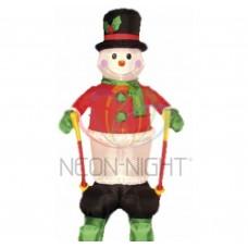 3D фигура надувная NEON-NIGHT Снеговик на лыжах 180 см 511-204