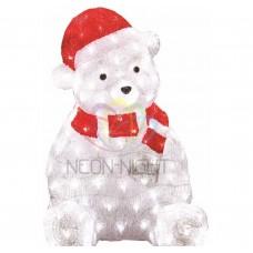 Акриловая светодиодная фигура NEON-NIGHT Медвежонок в красном колпаке, 56 см, 200 светодиодов 513-240