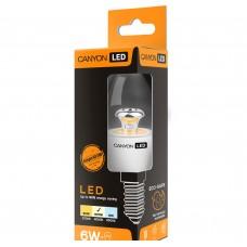 Светодиодная лампа BE14CL6W230VN LED lamp, B38 shape, clear, E14, 6W, 220-240V, 150°, 494 lm, 4000K, Ra>80, 50000 h CANYON