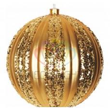 Елочная фигура NEON-NIGHT Полосатый шар, 25 см, цвет золотой 502-071