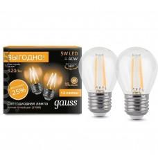 Светодиодная лампа Filament Шар E27 5W 2700К 2/100 (2 лампы в упаковке) Gauss