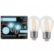 Светодиодная лампа Filament Шар E27 5W 4100К 2/100 (2 лампы в упаковке) Gauss