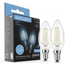 Светодиодная лампа Filament Свеча E14 5W 4100К 2/100 (2 лампы в упаковке) Gauss