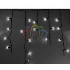 Гирлянда NEON-NIGHT Айсикл (бахрома) светодиодная, 4,8 х 0,6 м., черный провод, 220В, диоды белые 255-135