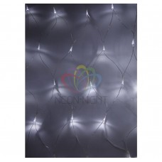 Гирлянда - сеть светодиодная NEON-NIGHT 1,8х1,5м, свеч. с динамикой, прозрачный провод, БЕЛЫЕ диоды 215-135