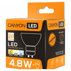 Светодиодная лампа MRGU10/5W230VW60 LED lamp, MR shape, GU10, 4.8W, 220-240V, 60°, 300 lm, 2700K, Ra>80, 50000 h CANYON