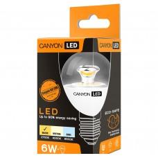 Светодиодная лампа PE27CL6W230VW LED lamp, P45 shape, clear, E27, 6W, 220-240V, 150°, 470 lm, 2700K, Ra>80, 50000 h CANYON