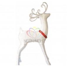 """Синтетическая 3D фигура """"Олень с красной лентой """", 122 см, 98 светодиодов NEON-NIGHT"""